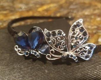 Headband  tiara black velvet dark blue crystal