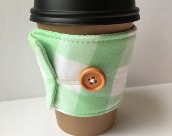 Mint Green Gingham Check Coffee Cozy - One Inch Gingham Check Coffee Cup Sleeve - Reusable Coffee Sleeve