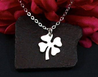 Four Leaf Clover Necklace Sterling Silver | Lucky Clover Necklace | Make a Wish Necklace | Good Luck Charm Necklace | Gift for Her