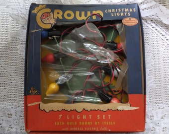 Vintage Crown General Electric 7 Light Christmas Tree Lights Set
