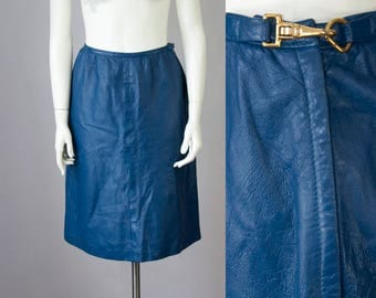 "60s Vintage BONNIE CASHIN Blue Leather Skirt with Gold Side Hook (M; 28"" Waist)"