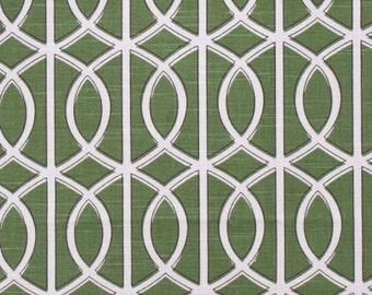 Green Geometric Decorative Designer Pillow Cover Accent Cushion white ivory hollywood regency lattice trellis round ovals kelly grass