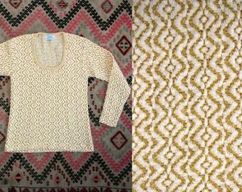 Vintage 1960's Metallic Gold and White Long Sleeve Sweater Women's Size Medium Large Retro/Preppy/Feminine/Holiday
