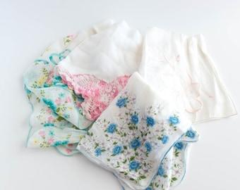 Set of 4 Linen Handkerchiefs Hankerchief Hankies  Shabby Decor Cottage Decor Something Old