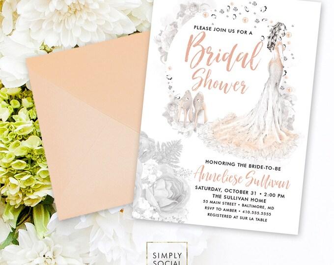 Bridal Shower Invitation - Diamond Pearls Invitation Watercolor Bride Floral Peony Nude Blush Boho Flowers Printable Party Invite