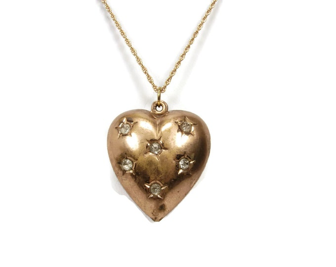 Antique Oversized Gold Filled Puffy Heart Pendant