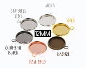 10pcs 12mm Brass Druzy Settings Pendant Tray Blanks, Rose Gold Tone, Gunmetal Tone, Stainless Steel Tone, Silver Tone, Gold Tone Bronze Tone