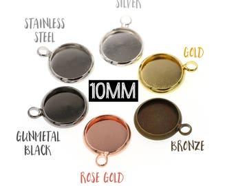 10pcs 10mm Brass Druzy Settings Pendant Tray Blanks, Rose Gold Tone, Gunmetal Tone, Stainless Steel Tone, Silver Tone, Gold Tone Bronze Tone