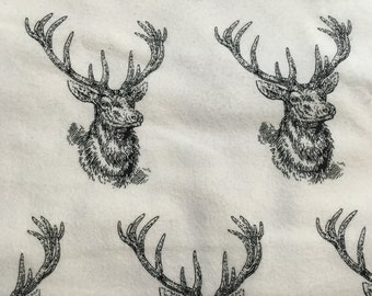 Black and white stags -  FLANNEL Fabric - BTY