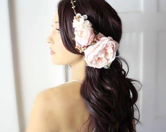 Flower Halo, gold pink, crown, wedding, bridal, halo, summer, bride, festival, hair accessory, wreath, beach wedding, destination