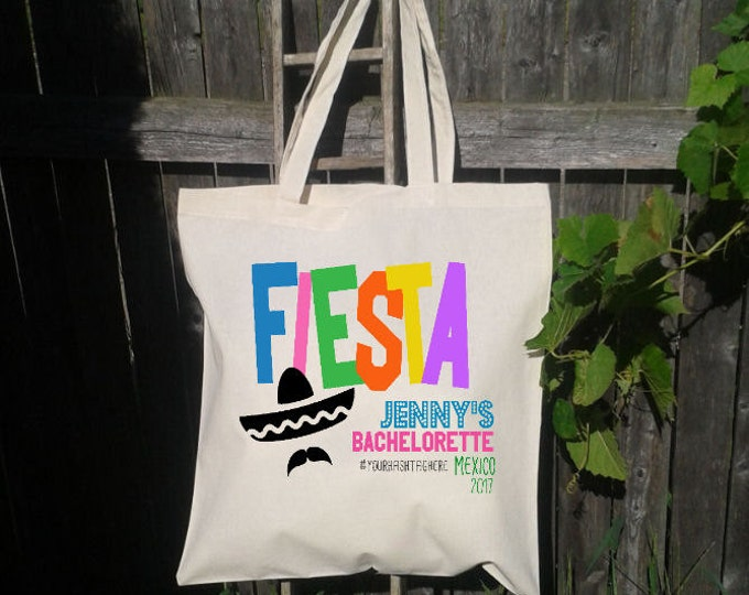 Fiesta Party, Hola, Mexico Bachelorette Party, Canvas Tote Bag, Beach Tote, Personalized for FREE