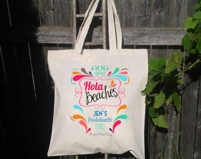 Hola Beaches, Bachelorette Party, Canvas Tote Bag, Beach Tote, Personalized for FREE, Flamingos