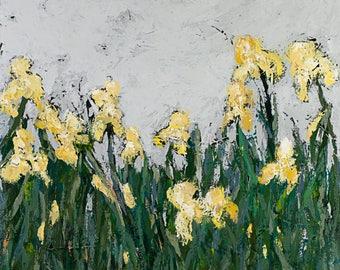 Iris, yellow flowers, abstract art,  canvas print, Wide Awake