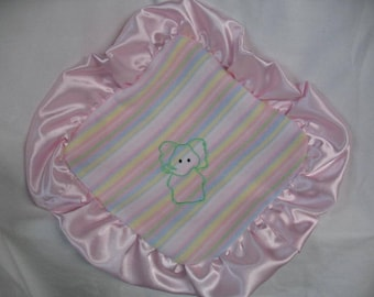 Embroidered Elephant On Striped Fleece /  Baby Lovie / Sensory / Pink Minky Dot  Blanket
