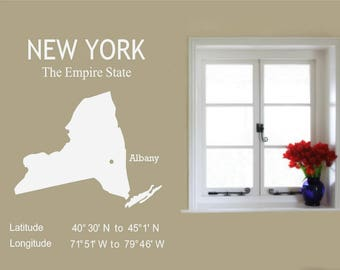 New York Decal, New York State decal, New York Longitude, The Empire State, New York Decor, Albany map, Living Room Decor, USA State Decal