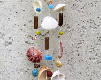Handmade Sea Shell Wind Chimes with assorted Glass, Turquoise, Wood and  Bone