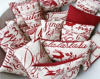 Christmas Sachets - Set of 3 Balsam Fir Sachets - Christmas Carols - 12 Days of Christmas - Music