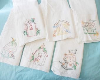 Vintage Set of 6 Embroidered BIRDHOUSES & BIRDS Cotton Dish Towels