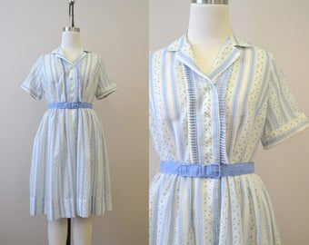 1960s Blue and White Floral Print Shirtwaist Dress
