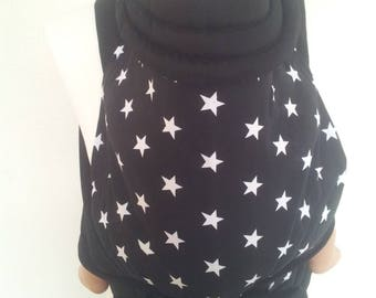MEI TAI Baby Carrier / Sling / Reversible / Stars with Black and White / straight cut model / 100% Cotton / Made in UK
