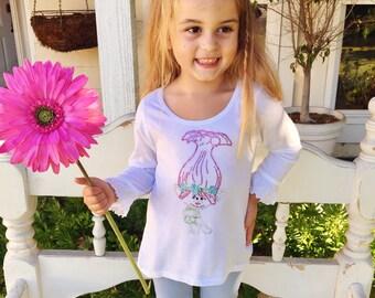Trolls Princess Poppy dress, Trolls Princess Poppy little girls dress, Trolls Princess Poppy rhinestone dress, Trolls Princess Poppy shirt