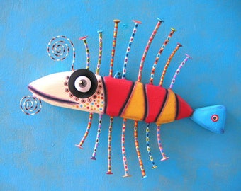 Little Barracuda, MADE to ORDER, Original Found Object Wall Sculpture, Wood Carving, Animal Sculpture, Wall Decor, by Fig Jam Studio