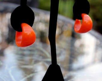 Dark Pumpkin Bakelite Hoop Earrings