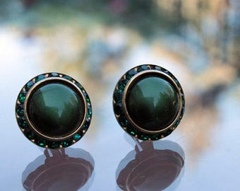 Green Thermoset Earrings with Rhinestones