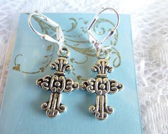 Swirl Cross Earrings Tibetan Silver Cross Earrings