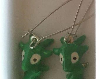 Whimsical Green Goat Earrings
