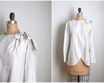 1970s silver lurex wrap bow blouse - metallic disco top / Judy Bond blouse - vintage 60s space age blouse / Studio 54 - silver party top