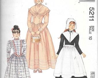 McCall's 5211 Girl's Puritan Pilgrim Prairie Farm DRESS Costume Sewing Pattern UNCUT Size 10