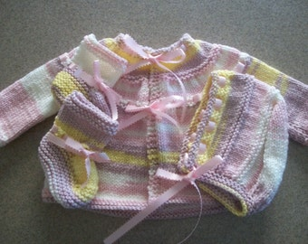 Baby Ring Around the Rosie Layette Set with Pink Ribbon