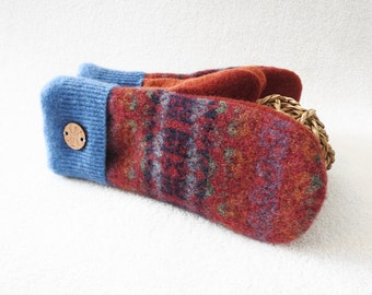 Wool Mittens CRANBERRY RED & BLUE with Orange Fair Isle Sweater Wool Mittens, Felted Sweater Wool Fleece Lined Mittens Gloves by WormeWoole