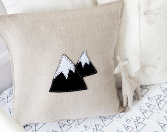 Linen Cushion with hand stitched felt Mountain , cover only