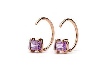Amethyst Hug Hoops, Sterling Silver, Gold Plated, Birthstone Hugging Earrings, Open Hoops, Minimalist Jewelry, Hand Made Gift, EAR145AMT