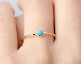Turquoise Ring, Sterling Silver, Gold Vermeil, Birthstone Ring, Hand Made Minimalist Jewelry, Girlfriend Gift, Lunaijewelry, RNG040TRQ