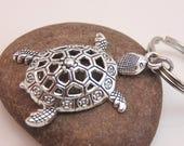 Silver tortoise turtle keychain - silver charm keychain - metal keychain - minimalist keychain - animal keychain silver keychain ocean beach
