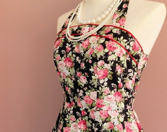 Black floral bridesmaid dress halter party tea sundress