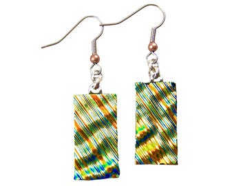 "Dichroic Dangle Earrings - Gold Golden Copper Green Ripples Fused Glass - Surgical Steel French Wire or Clip On - 1"" 25mm"