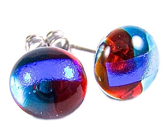 "Dichroic Stud Earrings - Ruby Red & Aqua Blue Sapphire Blue Striped Dichro - Fused Glass Rock Drop Post Studs - 1/4"" 7mm Tiny Post"