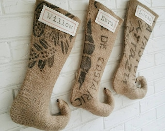 Personalized Christmas Stockings - Rustic Burlap Christmas Stocking Personalized - Farmhouse Holiday Décor