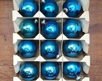 """12 Blue Shiny Brite Glass Ball Christmas Tree Ornaments in the Origninal Box, 2"""""""