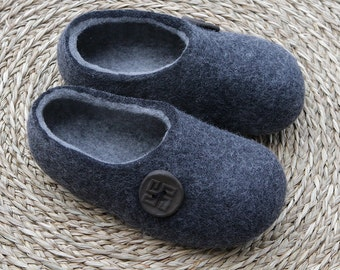 Hand made Felted Wool Slippers in Charcoal Gray with Light Gray inside and Lucky Button decor. Size:  EU 44; EU 45 ready to ship.
