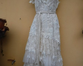 "20%OFFplusREFUND SHIPPING vintage inspired shabby bohemian gypsy dress ..smaller to 36"" bust..."