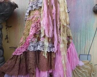 20%OFF wedding skirt,tattered skirt, mori girl, stevie nicks, bohemian skirt, gypsy skirt, lagenlook skirt, bellydance, wrap skirt..