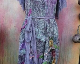 20%OFF wedding dress, wildskin, shabby dress, lace dress, purple dress, mori girl, woodland, gothic, romantic dress, fantasy, bohemian, boho
