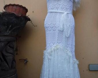 "20%OFF bohemian gypsy lagenlook hippy crochet wedding bridesmaid dress ...smaller to 42"" bust"