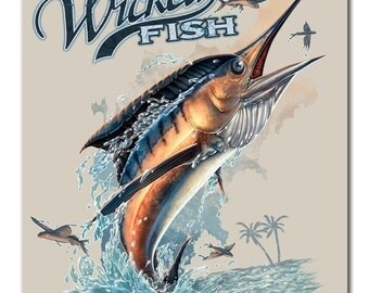 Vintage Style Tin Sign, Wicked Fish marlin  premium steel sign, fishing sign, man cave, USA, garage decor, wall hanging