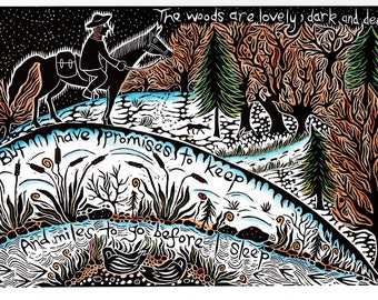 Stopping By the Woods on a Snowy Evening.  Lino cut print, Robert Frost, poetry